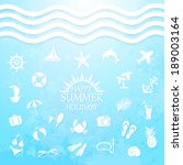 happy summer holiday sea icons... | Shutterstock . vector #189003164