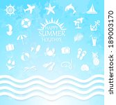 happy summer holiday sea icons... | Shutterstock . vector #189003170