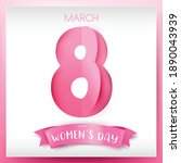 happy women day 8 march text...   Shutterstock .eps vector #1890043939