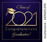 class of 2021 year graduation... | Shutterstock .eps vector #1890091390