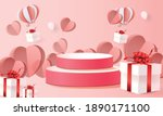 3d podium red product... | Shutterstock .eps vector #1890171100