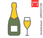 champagne bottle with glass...   Shutterstock .eps vector #1890237130