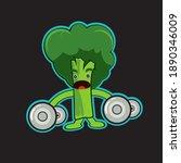 cartoon broccoli character...   Shutterstock .eps vector #1890346009