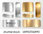 realistic shiny metal banners... | Shutterstock .eps vector #1890356890