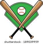 baseball bats and baseball over ... | Shutterstock .eps vector #189039959