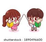 Cute Couple Teacher Cartoon...