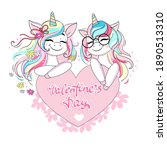 two beautiful unicorns are... | Shutterstock .eps vector #1890513310