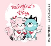 cute valentine couple cats.... | Shutterstock .eps vector #1890513313