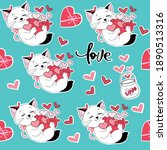 valentine's cat and items for... | Shutterstock .eps vector #1890513316