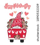 valentine gnome in red flower... | Shutterstock .eps vector #1890532339