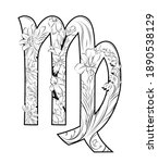 virgo horoscope sign decorated... | Shutterstock . vector #1890538129
