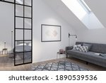 Modern Attic With A Horizontal...