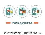 mobile applications outline...   Shutterstock .eps vector #1890576589