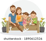 family sitting together on the... | Shutterstock .eps vector #1890612526