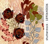decorative flowers roses with... | Shutterstock .eps vector #1890640036