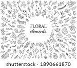 set of hand drawn flower...   Shutterstock .eps vector #1890661870