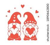 valentine gnomes silhouette.... | Shutterstock .eps vector #1890662800
