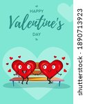 two hearts in love on a bench.... | Shutterstock .eps vector #1890713923