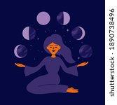 girl holding moon phases in... | Shutterstock .eps vector #1890738496