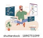 skillful coder with monitors... | Shutterstock .eps vector #1890751099