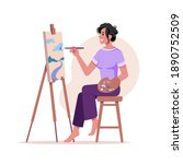 artist paints picture at easel... | Shutterstock .eps vector #1890752509