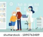 couple elderly vaccinated.... | Shutterstock .eps vector #1890763489