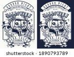 scary portrait jack o' lantern... | Shutterstock .eps vector #1890793789