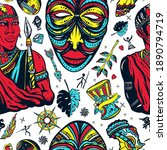 africa seamless pattern....   Shutterstock .eps vector #1890794719