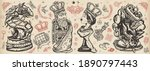 chess old school tattoo vector... | Shutterstock .eps vector #1890797443