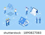 isometric construction project... | Shutterstock .eps vector #1890827083