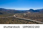 Small photo of Aerial view of the Beeline Highway SR 87 in the Tonto National Forest near the town of Sunflower Arizona