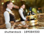 Stock photo modern luxury hotel reception counter desk with bell 189084500
