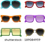vector colorful sunglasses set... | Shutterstock .eps vector #189084959