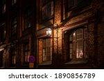 the dark street is lit by...   Shutterstock . vector #1890856789