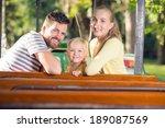 happy family in the amusement... | Shutterstock . vector #189087569