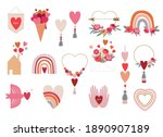 valentine's day collection of... | Shutterstock .eps vector #1890907189