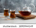 Two Glass Cup Of Tea With...