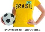 pretty football fan in brasil t ... | Shutterstock . vector #189094868