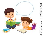 boy was telling the story from... | Shutterstock .eps vector #1890973723