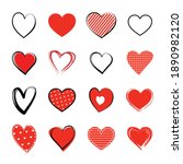 red heart symbol set. love icon ... | Shutterstock .eps vector #1890982120