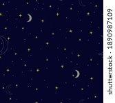 night sky pattern. yellow moon  ...   Shutterstock .eps vector #1890987109