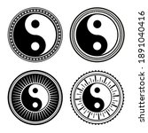 set of hand drawn yin yang... | Shutterstock . vector #1891040416