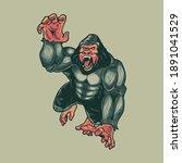 angry gorilla monkey. animals... | Shutterstock .eps vector #1891041529