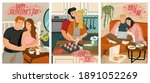 couple in love cooking and... | Shutterstock .eps vector #1891052269