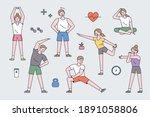 people character exercising....   Shutterstock .eps vector #1891058806