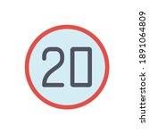 20 kmh speed limit vector sign  ... | Shutterstock .eps vector #1891064809