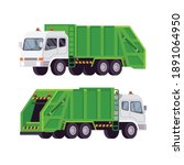 garbage truck isolated on white ...   Shutterstock .eps vector #1891064950