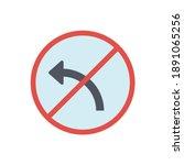 no left turn sign  left turn... | Shutterstock .eps vector #1891065256