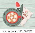 cup of coffee with love card... | Shutterstock .eps vector #1891080973