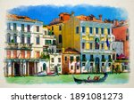 Watercolor Drawing Of Venice ...
